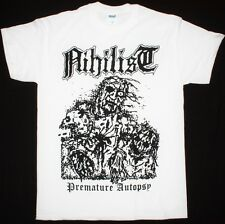 NIHILIST PREMATURE AUTOPSY ENTOMBED UNLEASHED MORBID DEATH WHITE NEW T-SHIRT