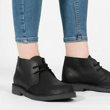 Roamers Mens Womens Ladies Distressed Leather Lace-Up Padded Desert Boots Black