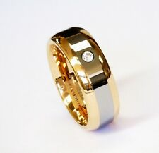 8Mm Rose Gold 2 Tone Cz Tungsten Carbide Ring Men Jewelry Wedding Band Unisex