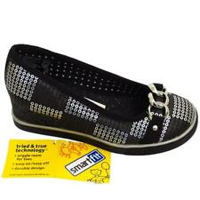 Girls Black Glitter Shoes Womens Slip On Wedge Buckle Pumps Size 10-6