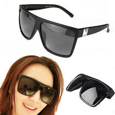 UNISEX VINTAGE MENS WOMENS FLAT TOP SQUARE SUNGLASSES EYEWEAR WITH LARGE FRAME