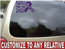 "CUSTOMIZES CAR WINDOW PURPLE ""PANCREATIC CANCER RIBBON"" VINYL DECAL 7""X5"""