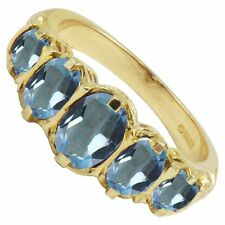 Amazing Solid 9ct Yellow Gold Victorian Style 2ct Blue Topaz 5 Stone Ring  K - V