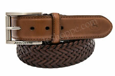 John Deere Men's Brown Stretch Braided Leather Belt - NEW - Sizes 32 - 46