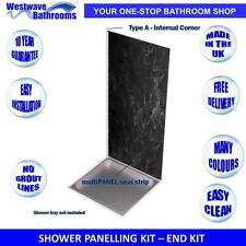 Shower Wall Panels - END KIT for 3 - SIDED SHOWERS - Various Colours