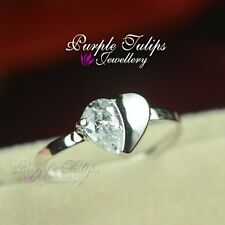 18K White Gold Plated Sparkling Heart Ring W/ SWAROVSKI Simulated Diamonds
