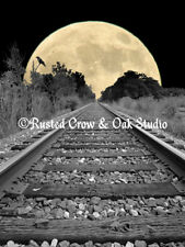 Black White Railroad Tracks Moon Crow Bird Contemporary Art Matted Picture A256