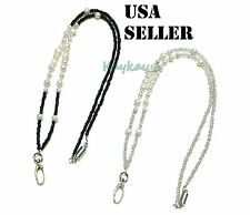 Beaded Real Pearl Crystal Lanyard for ID Badge Necklace with Magnetic breakaway