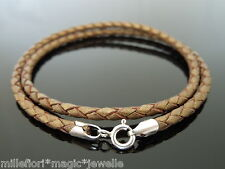 3mm Metallic Brown Braided Leather & Sterling Silver Necklace Or Wristband