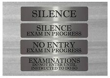 LARGE VITAL SIGNS Silence Exam in Progress Silver Metal Door Wall School Plaques