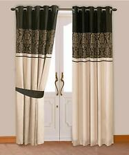 BLACK & GOLD COLOUR MODERN DAMASK DESIGN FAUX SILK RINGTOP EYELET LINED CURTAINS