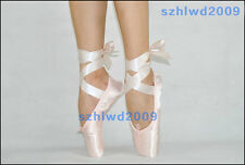 NEW Adult Ladies Satin Ballet Pointe Shoes Dance Toe Shoes With Ribbon US 5-8.5