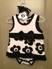 NWT!!! Baby Girls Mud Pie Baby Tres Jolie Pleated Ruffle All-In-One Dress!