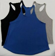 MENS Gym SINGLET Racer - Y Back Muscle Training TOP Body Building T Shirt Blank