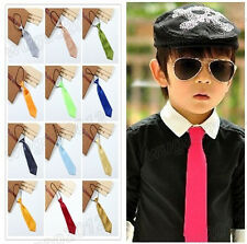 New Satin Elastic Neck Tie for Wedding Prom Pretty Boy School Kids Ties 26Colors
