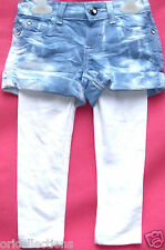 BN.GIRLS EX-CHAIN STORE***TIE - DYE** SHORTS & WHITE LEGGINGS SET***(multi