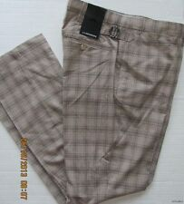 NWT Mens J. Lindeberg Stretch Plaid Golf Casual Pant Elliott Slim Dark Beige