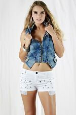 AFTERPINK Sexy Washed Denim Stud Detail Top with Front Zipper and Pocket Detail