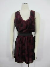 NWT Line & Dot NEIMAN MARCUS Velveteen grape gown sultry silk Dress SZ S L