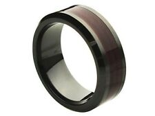 Comfort Fit Black Ceramic 8mm Wedding Band Ring with Wood Inlay Center