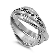FAITH LOVE HOPE Trinity Interlocking Celtic Band Ring - Stainless Steel (319)