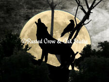 Wolf and Crow Moon Animal Bird Silhouette Surreal Landscape Matted Picture A388