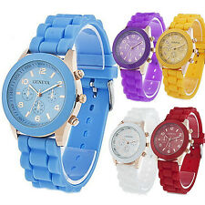 New Fashion Womens Mens Geneva Jelly Gel Silicone Band Analog Watch 36 Styles