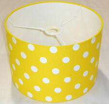 Hand Made Sunshine Yellow Cotton Lampshade With White Polka-Dot Design