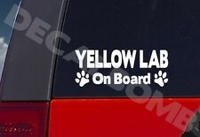 Yellow Lab On Board paw print decal / sticker dog puppy