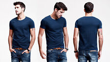 Mens Basic T shirt GYM Sports Athletic Tee Short Sleeve Crew Neck Stretch Fitted