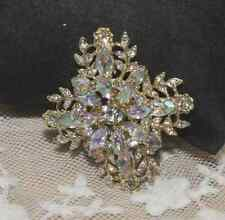 Vintage Style Aurora Borealis Crystal Rhinestone Wedding Bridal Cross Brooch Pin