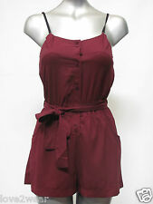 NEW Ladies Playsuit Burgundy Sheer Chiffon Dress Shorts Women's Size 8 10 12 14