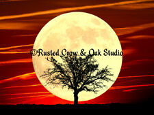 Tree against Full Moon & Red Skies Signed Original Matted Picture Art Print A484