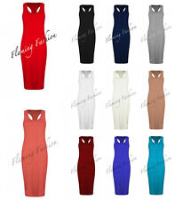 New Womens Ladies Racer back Sleeveless Midi Dress Jersey Bodycon T shirt 8-14