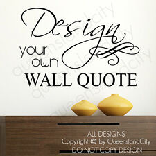 Personalised Customised Custom Design Own Wall Quote Ornament Swirl Vinyl Decal