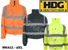 Hi Viz Safety Bomber Jacket. High Vis Storm Padded Waterproof Security Coat.