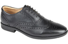 Mens New Roamers Black Leather Formal Brogues Shoes  Size UK 6 - 12