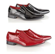 MENS ITALIAN STYLE LEATHER LINED POINTED BOOTS SLIP ONS PATENT BROGUE SHOES