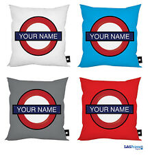 "PERSONALISED LONDON UNDERGROUND DESIGN 18"" X 18"" CUSHION GREAT GIFT IDEA"