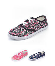 Women's Floral Canvas Lace Up Skate Sneakers  (SH1000)