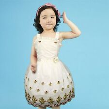 New Embroidery Pattern Flower Girl Dress Party Pageant Dresses for 5-9Year Kids