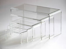 Set of 5 Rectangular Clear Acrylic Plastic Display Riser Stand Plinth:10 to 25cm