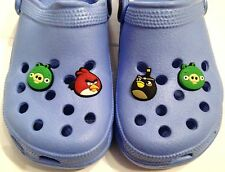 Blue Kids Clogs + 4 Angry Birds + Green Pigs Shoe Charms Jibbitz 10 11 12 13 1 2