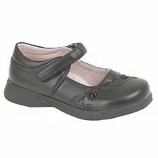 Boulevard Girls Kids Junior Velcro Bar Floral Hearts School Smart Shoes Black