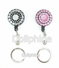 Bling Rhinestone Crystal Sunflower Retractable Badge Reel with Keychain