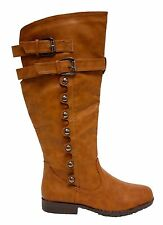 Women's Tan Riding Equestrian Boot with Buckles, Rivets, Zipper and Lug Sole