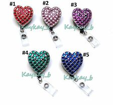 Bling Rhinestone badge reel retractable ID badge holder - Rhinestone Heart