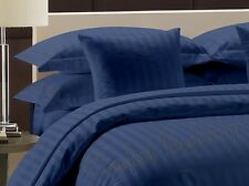 "1000TC Hotel Brand ""Navy Blue"" Solid/Stripe 100%Cotton US Bedding Price@15.99"