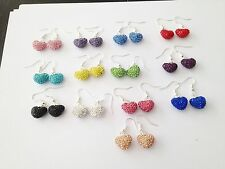 SHAMBALLA SPARKLY HEART DROP EARRINGS 14mm  PAVE CLAY CZECH CRYSTAL HEARTS - NEW