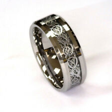 8Mm Silver Celtic Dragon On Black Carbon Fiber Tungsten Carbide Band All Sizes